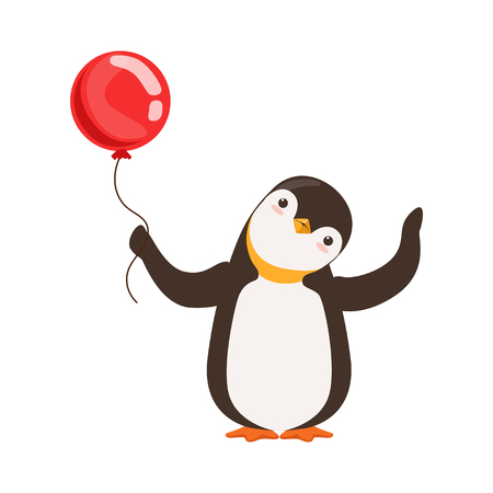 Cute Doodle Penguin Character Is Holding A Red Baloon On A White Background vector Çizim