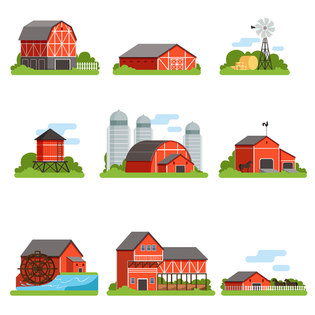Farm buildings and constructions set, agriculture industry and countryside objects vector Illustrations Ilustração