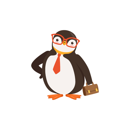Cute Doodle Penguin Toon In Glasses and Tie Is Holding A Briefcase on A White background vector Illustration