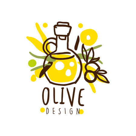 Vector Image Of An Oil Flask And Some Olives Hand Drawn vector illustration