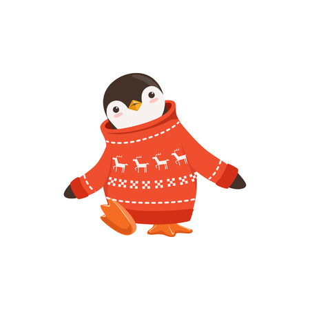 Funny vector Cute Penguin Toon Character In A Red Sweater With Raindeer Motiff On A White Background