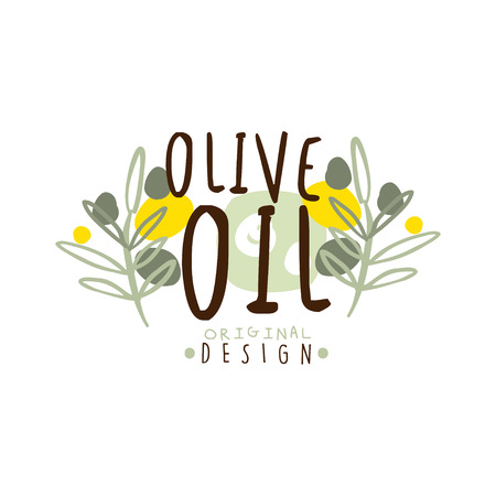 Olive Oil Label With Some Olive Branches vector illustration