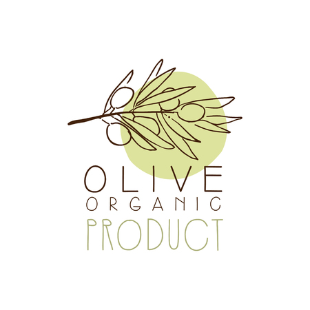 Organic Product Label With Olive Branch Olive Hand Drawn And Leaves