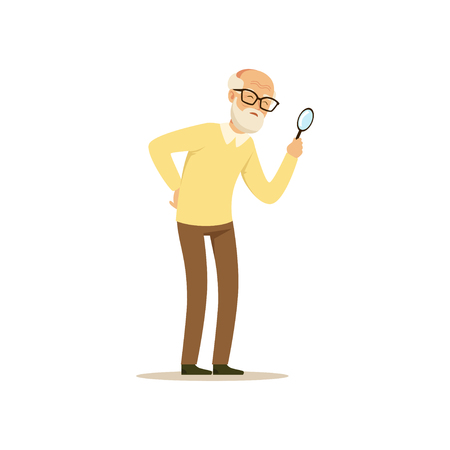 Old Male Character Weak Eyesight Colourful Toon Cute Illustration