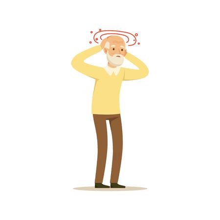 古い男性キャラ片頭痛頭痛カラフルな漫画かわいいイラスト  イラスト・ベクター素材