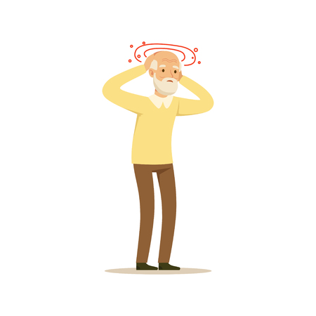 Old Male Character Migraine Headache Colourful Toon Cute Illustration