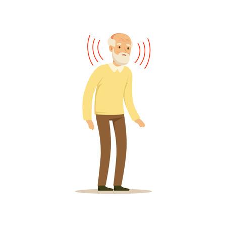 男性キャラクター古い弱い聴覚カラフル ベクトル漫画かわいいイラスト  イラスト・ベクター素材
