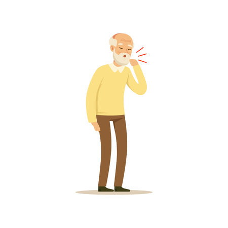 Male Character Old Coughing Colourful vector Toon Cute Illustration Vettoriali