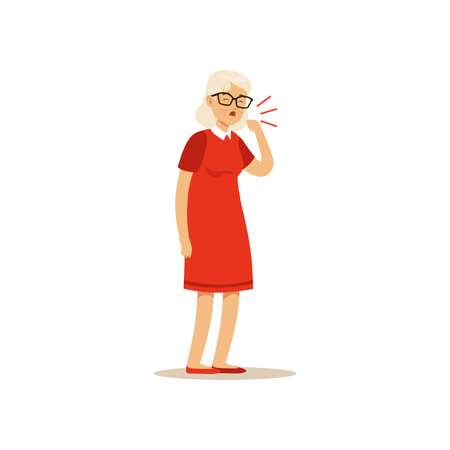 Old Female Character Coughing Colourful vector Toon Cute Illustration Çizim