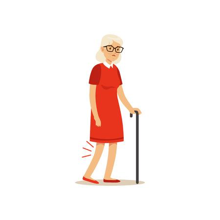 오래 된 여성 캐릭터 나쁜 무릎 통증 다채로운 벡터 툰 귀여운 그림