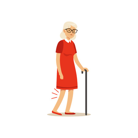 Old Female Character Bad Knee Pain Colourful vector Toon Cute Illustration