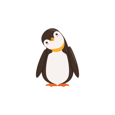 A Funny Penguin Toon Is Tilting His Heard With White Background vector Imagens - 87228028