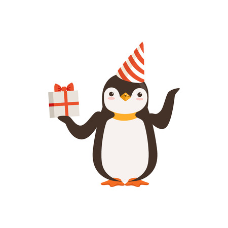 Funny Cute vector Penguin Character In A Party Hat With A Gift Box Tied With Red Ribbon Illustration