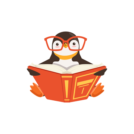 vector Cute Toon Penguin In Glasses Reading A Book On White Background