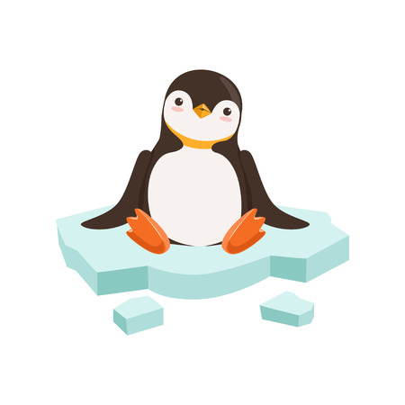 vector Cute Funny Penguin Character Is Sitting On A Block Of Ice With White Background Illustration
