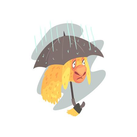 Sad llama character walking with umbrella in rainy day, cute alpaca animal cartoon vector Illustration Illustration