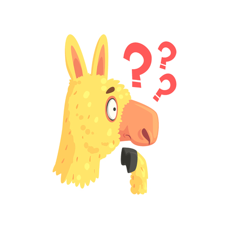 Funny puzzled lama character, cute alpaca animal cartoon vector Illustration 向量圖像