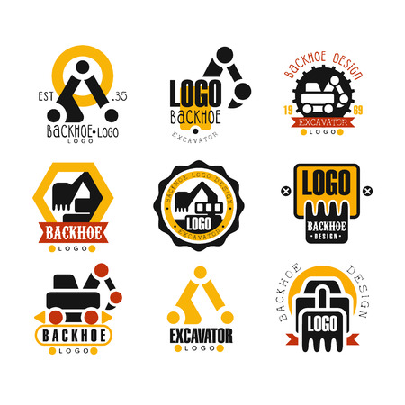 Backhoe and excavator logo design set vector Illustrations