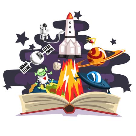 Offenes Buch mit Rakete, Astronaut, Planeten, Sternen, UFO-Raumschiff und Ausländer nach innen, Fantasiebegriff