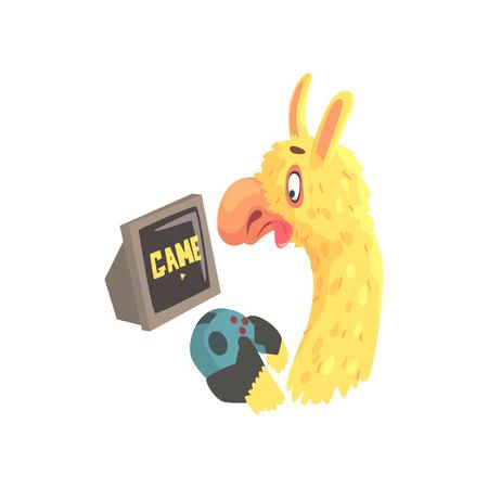 컴퓨터 게임, 귀여운 알파카 동물 만화 벡터 일러스트 레이션을하는 재미 라마 캐릭터 일러스트