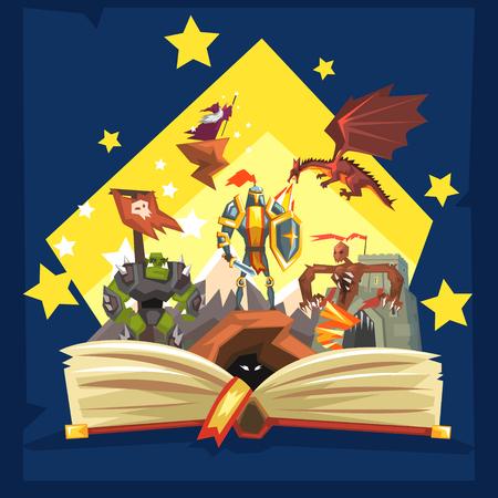 Open boek met legende, sprookje fantasieboek met ridders, draak, tovenaar, verbeeldingsconcept