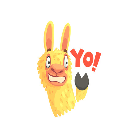 Funny llama character waving its hoof saying Yo, cute alpaca animal cartoon vector Illustration 向量圖像