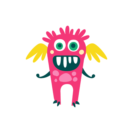 Cute pink cartoon monster with wings, fabulous incredible creature, funny alien vector Illustration