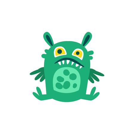 Funny green cartoon monster sitting on the floor, fabulous incredible creature, cute alien vector Illustration Ilustração