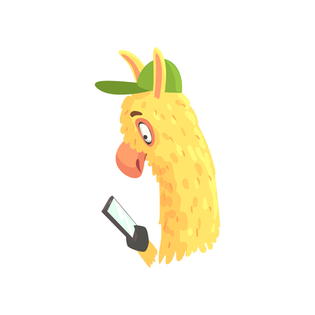 Funny llama character using mobile phone, cute alpaca animal cartoon vector Illustration Çizim