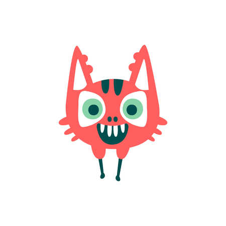 Funny red cartoon monster, fabulous incredible creature, cute alien vector Illustration