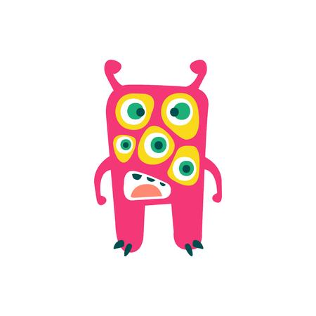 Cute pink cartoon monster, fabulous incredible creature, funny alien vector Illustration