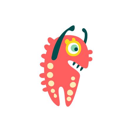 Funny red cartoon monster raising his hands, fabulous incredible creature, cute alien vector Illustration