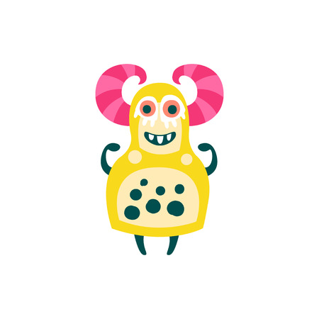 Funny yellow cartoon monster with pink horns, fabulous incredible creature, cute alien vector Illustration