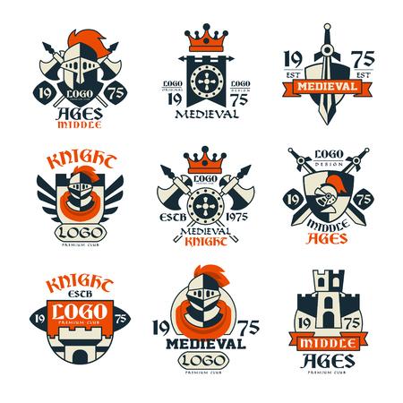 Middeleeuws logo ontwerp set, middeleeuwen vintage emblem vectorillustraties
