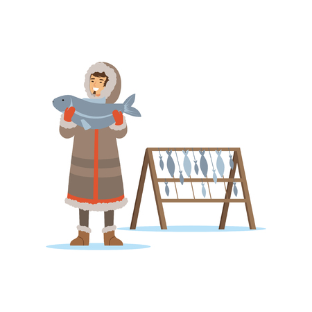 Eskimo, Inuit, Chukchi man character in traditional costume holding big fish, northern people, life in the far north vector Illustration Illusztráció