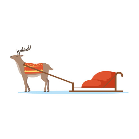 Horth reindeer animal with sleigh vector Illustration Çizim