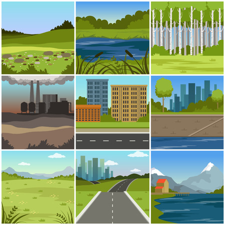 Different natural summer landscapes set, scenes of city, factory, forest, field, hills, road, river and lake