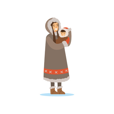 Eskimo, Inuit, Chukchi woman in traditional costume holding baby in her hands, northern people, life in the far north vector Illustration Stok Fotoğraf - 87290315