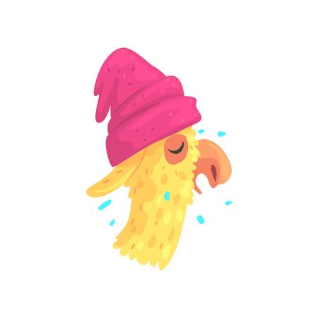 Funny llama character in pink hat, cute alpaca animal cartoon vector Illustration