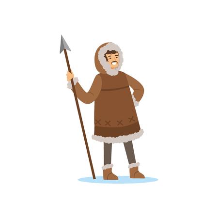 Lachende Eskimo, Inuit, Chukchi man karakter in klederdracht staande met speer, noordelijke mensen, leven in het verre noorden vector illustratie Stock Illustratie