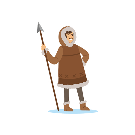 Smiling Eskimo, Inuit, Chukchi man character in traditional costume standing with spear, northern people, life in the far north vector Illustration