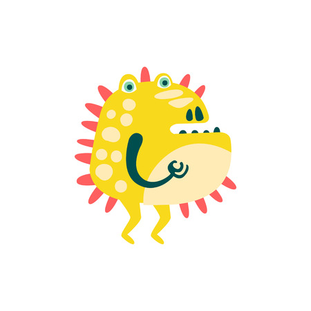 Funny yellow barbed cartoon monster, fabulous incredible creature, cute alien vector Illustration