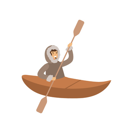 Smiling Eskimo, Inuit, Chukchi man character in traditional costume swimming on boat, northern people, life in the far north vector Illustration Illustration