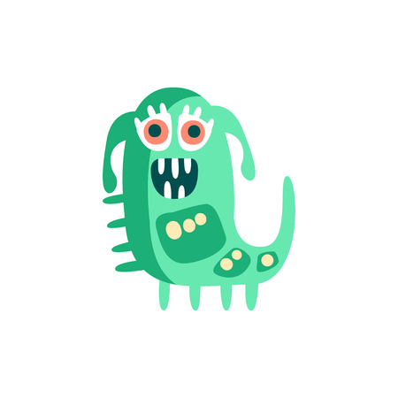 Cute happy cartoon monster, fabulous incredible creature, funny alien vector Illustration Ilustração