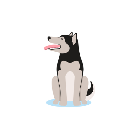 Siberian husky dog sitting on the snow vector Illustration Иллюстрация