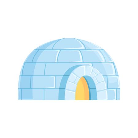 Iglo, ijzig koud huis, winter gebouwd van ijsblokken vector illustratie