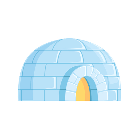 Igloo, icy cold house, winter built from ice blocks vector Illustration