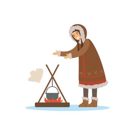 Eskimo, Inuit, Chukchi vrouw karakter in klederdracht koken voedsel in de pot boven een vreugdevuur, Noord-mensen, leven in het verre noorden vector illustratie