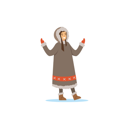 Smiling Eskimo, Inuit, Chukchi woman in traditional costume, northern people, life in the far north vector Illustration Illusztráció