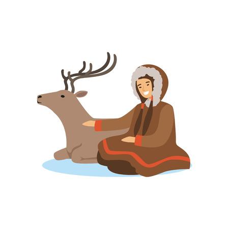 Eskimo, Inuit, femme Tchouktche en costume traditionnel assis avec son cerf, les gens du Nord, la vie dans le vecteur de l'extrême nord Banque d'images - 87290331